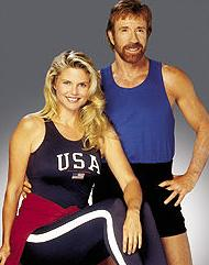 Christie Brinkley and Chuck Norris